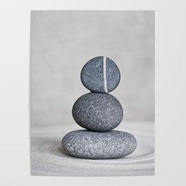 Zen cairn pebble stone balance grey Poster
