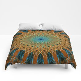 Orange and blue mandala Comforters
