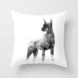 Doberman Pinscher NYC Skyline Throw Pillow