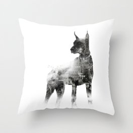 Doberman Pinscher NYC Skyline Throw Pillow