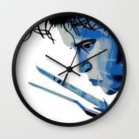 edward scissorhands Wall Clocks featuring Edward Scissorhands by OnaVonVerdoux