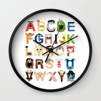 numbers Wall Clocks featuring Muppet Alphabet by Mike Boon
