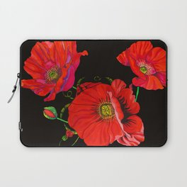Red Poppies on Silk Laptop Sleeve