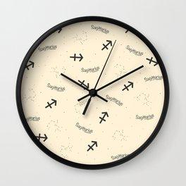 Sagittarius Pattern - Beige Wall Clock