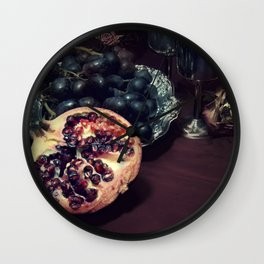 Still life with grapes and pommegranate Wall Clock