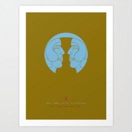 Gemini Zodiac / Twins Star Sign Poster Art Print