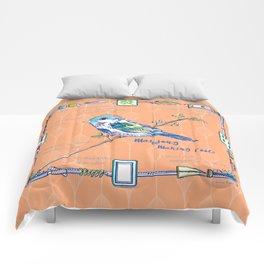 Sparrow Mahjong in Orange Comforters