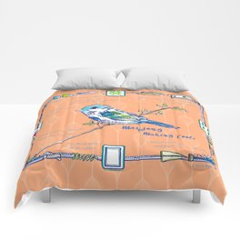 Sparrow Mahjong in Orange Comforters