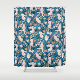 Spring Bunnies and Blooms Shower Curtain
