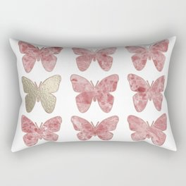 Golden rosy mauve butterflies Rectangular Pillow