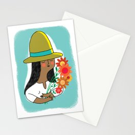 Woman Holding Flowers Stationery Cards