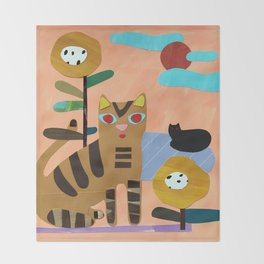 Cats on the Lawn Throw Blanket