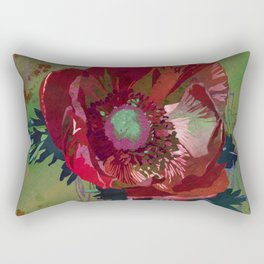 Red Anemone Flower Art | Watercolor Floral Art Print | Red Green Floral Wall Decor Rectangular Pillow