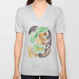 170623 Colour Shapes Watercolor 4  | Abstract Shapes Drawing | Abstract Shapes Art Unisex V-Neck
