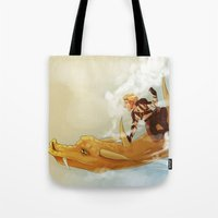 dungeons and dragons Tote Bags featuring Dragons and Direction: Niall by invisibleinnocence