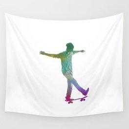 Man skateboard 07 in watercolor Wall Tapestry