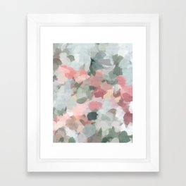 Blue Sage Green Coral Pink Tropical Flowers in the Wind Abstract Nature Ocean Painting Art Print Wall Decor  Framed Art Print