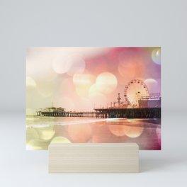 Sparkling pink Santa Monica Pier Mini Art Print