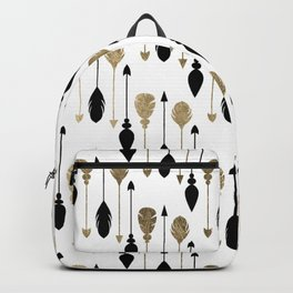 Elegant bohemian black faux gold arrows feathers Backpack