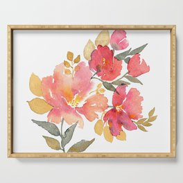 Delicate florals. Watercolor flowers. Lovely bouquet for girl. Serving Tray
