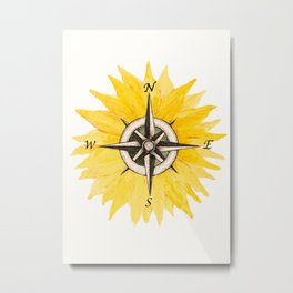 Compass  Sunflower Metal Print