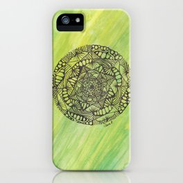 green and yellow mandala doodle iPhone Case