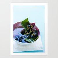 Bowl of Blackberries Art Print