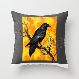 Grey & Gold Pattern  Crow Wildlife Art Throw Pillow
