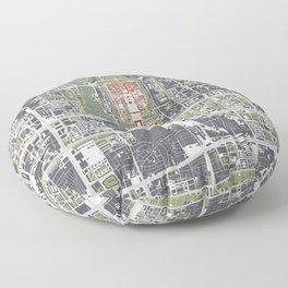 Beijing city map engraving Floor Pillow