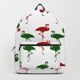 Flamingos Christmas Pattern Red Green Backpack