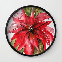 Bright Red Poinsettia Watercolor Wall Clock