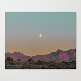 Sunset Moon Ridge // Grainy Red Mountain Range Desert Landscape Photography Yellow Fullmoon Blue Sky Canvas Print