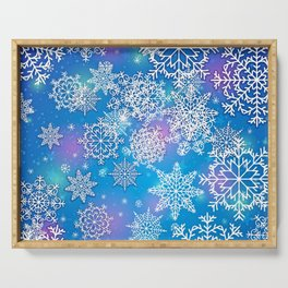 Snowflake background blue purple Serving Tray