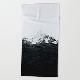Those waves were like mountains Beach Towel