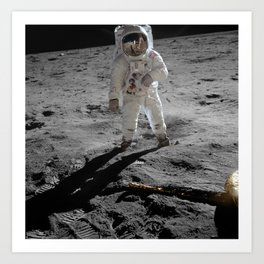 Astronaut Buzz Aldrin Apollo 11 original Photograph 1969 Standing on The Moon Print Art Print