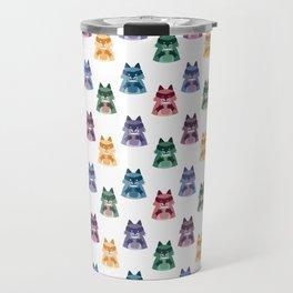 racoon with milk pattern Travel Mug