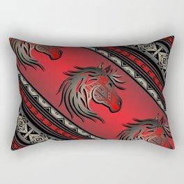 Horse Nation (Red) Rectangular Pillow