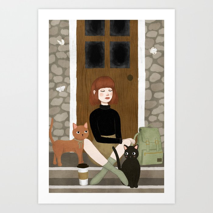 cats & coffee Art Print