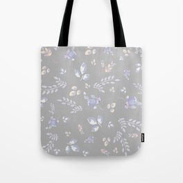 Spring colors watercolor leaves & tulips on light grey background Tote Bag