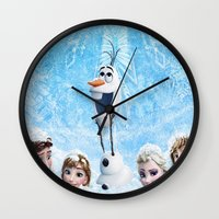 olaf Wall Clocks featuring FROZEN OLAF  by BESTIPHONE5CASESHOP