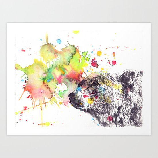 Portrait Of a Grizzly Brown Bear Art Print