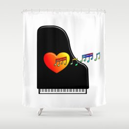 Singing Piano Heart. Shower Curtain