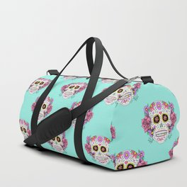 Sugar Skull with Flowers on Turquoise Duffle Bag