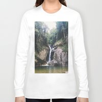 waterfall Long Sleeve T-shirts featuring Waterfall by Arshii Khaleel