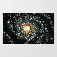 8bit Area & Throw Rugs featuring Pinwheel Galaxy M101 (8bit) by Sarajea