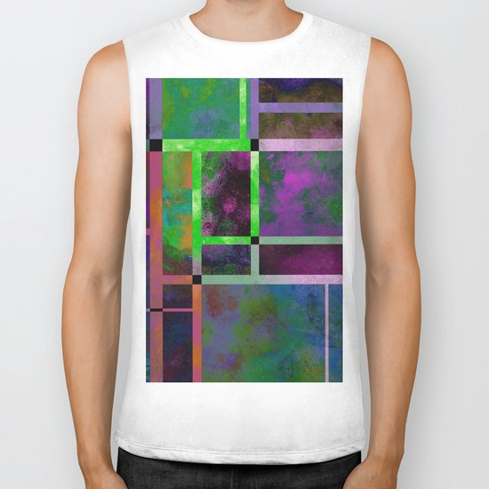 Pastel Textures - Abstract, pastel themed, geometric painting Biker Tank