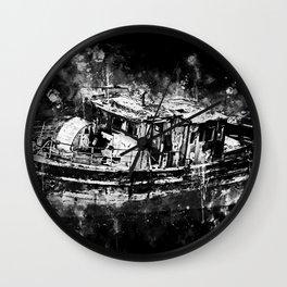 old ship boat wreck ws bw Wall Clock