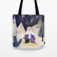 new year Tote Bags featuring New Year by callmekim