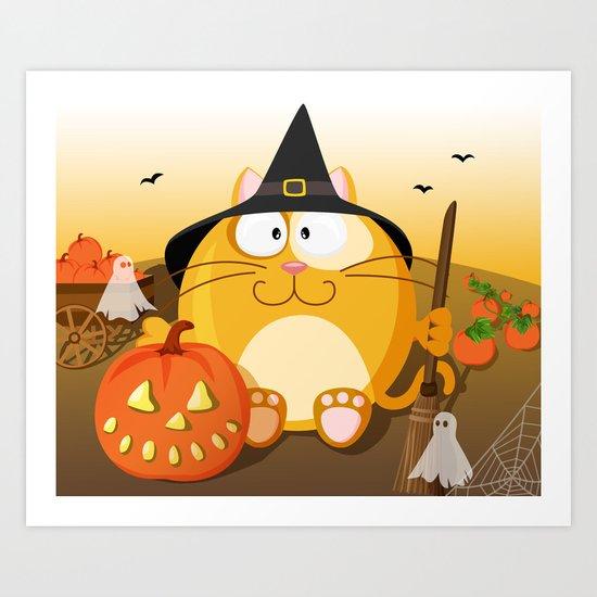 Halloween cat from month series October Art Print