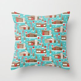 Mid Century Modern Gingerbread Houses Throw Pillow